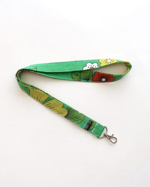 Nyckelband Retro retrotyg vintage Vintagetyg Återbruk Miljövänligt Färgglatt Karbinhake