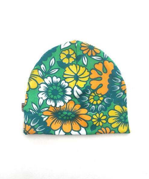 Mössa Vuxenmössa retromössa Retro Retrotyg Vintage Vintagetyg Återbruk Eko Miljövänlig Höstmössa Flower Power